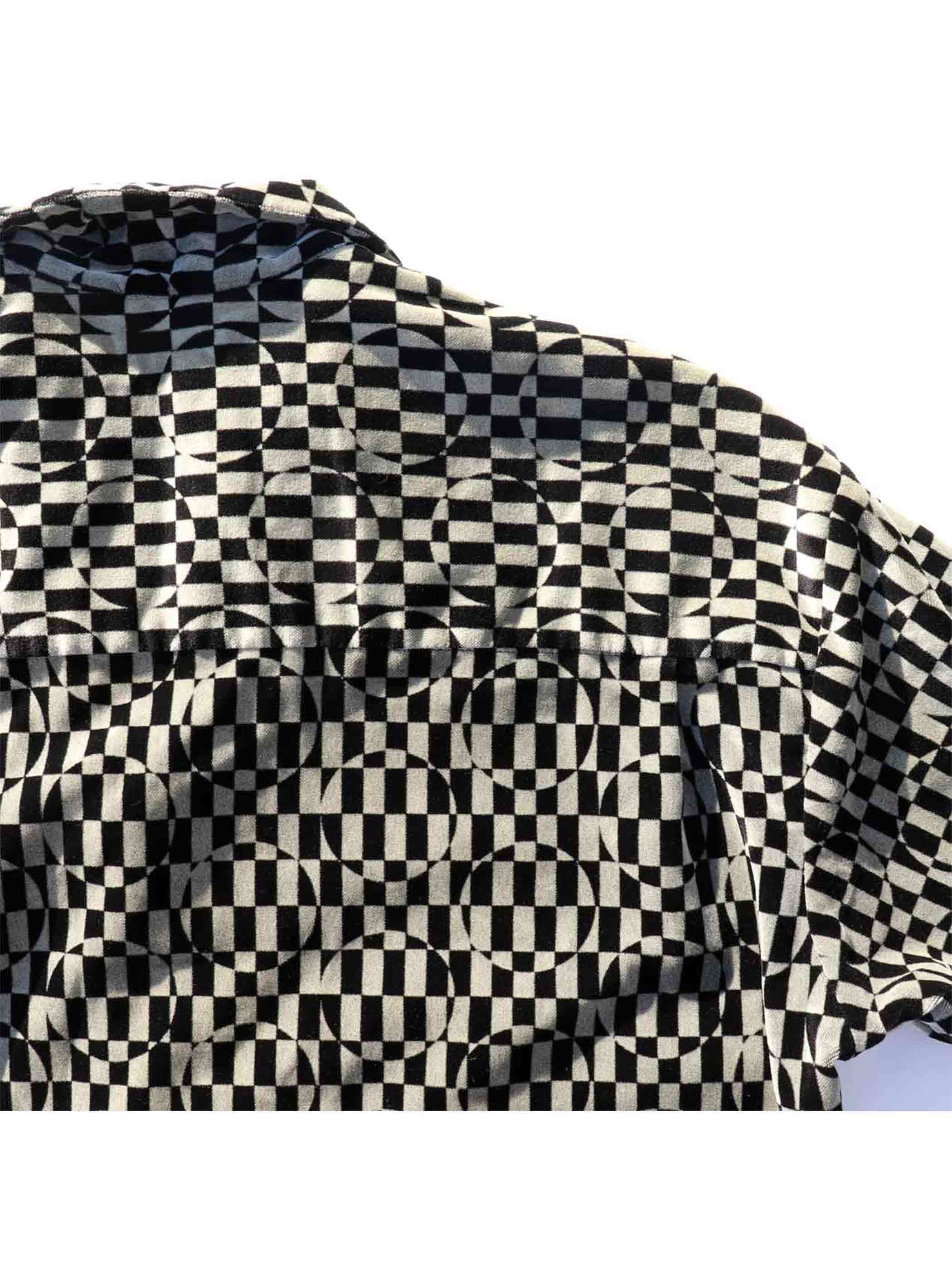 90's JAY Y. KO Optical Pattern Velvet Shirt [About XL]