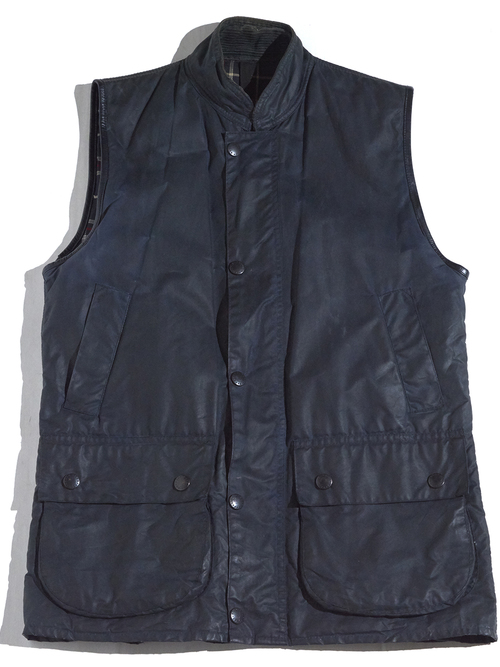 "1990s ""Barbour"" WESTMORLAND oiled vest -NAVY-"