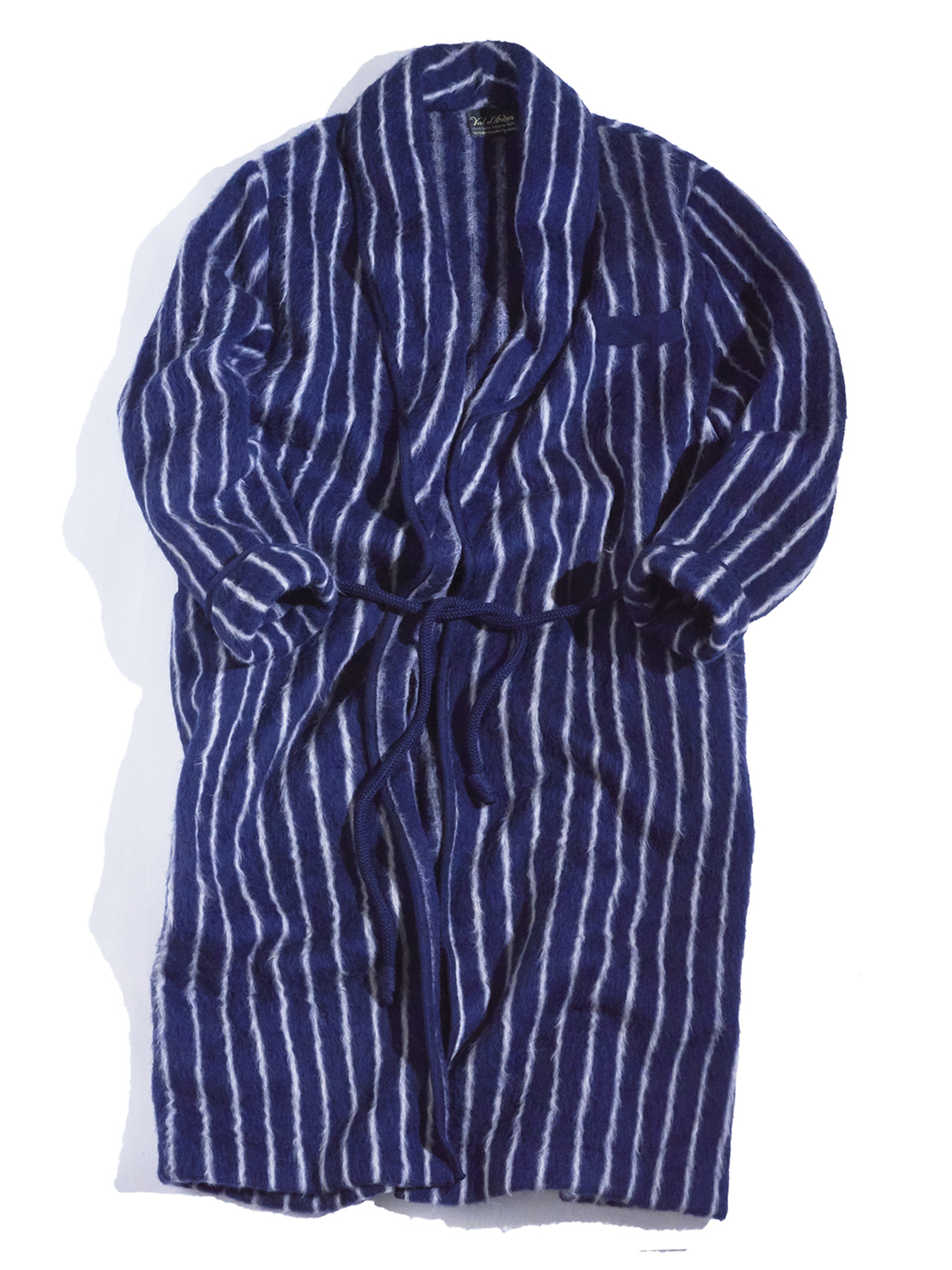 "1970s ""ral d' Awzes"" wool stripe gown -NAVY-"