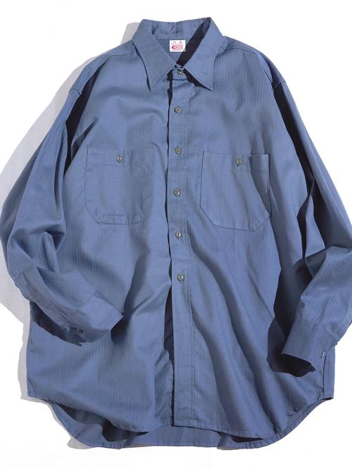 "1960s NOS ""COWDEN"" herringbone work shirt -SAX GREY-"