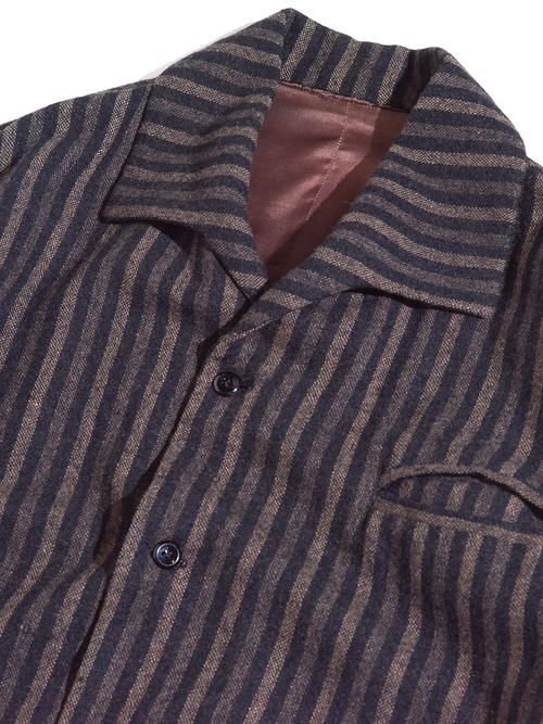 "1960s ""unknown"" s/s wool stripe shirt -BROWN-"