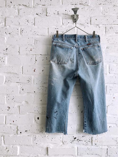 Vintage 80's-90's USA RUSTLER Damage Cut-off Denim Jeans