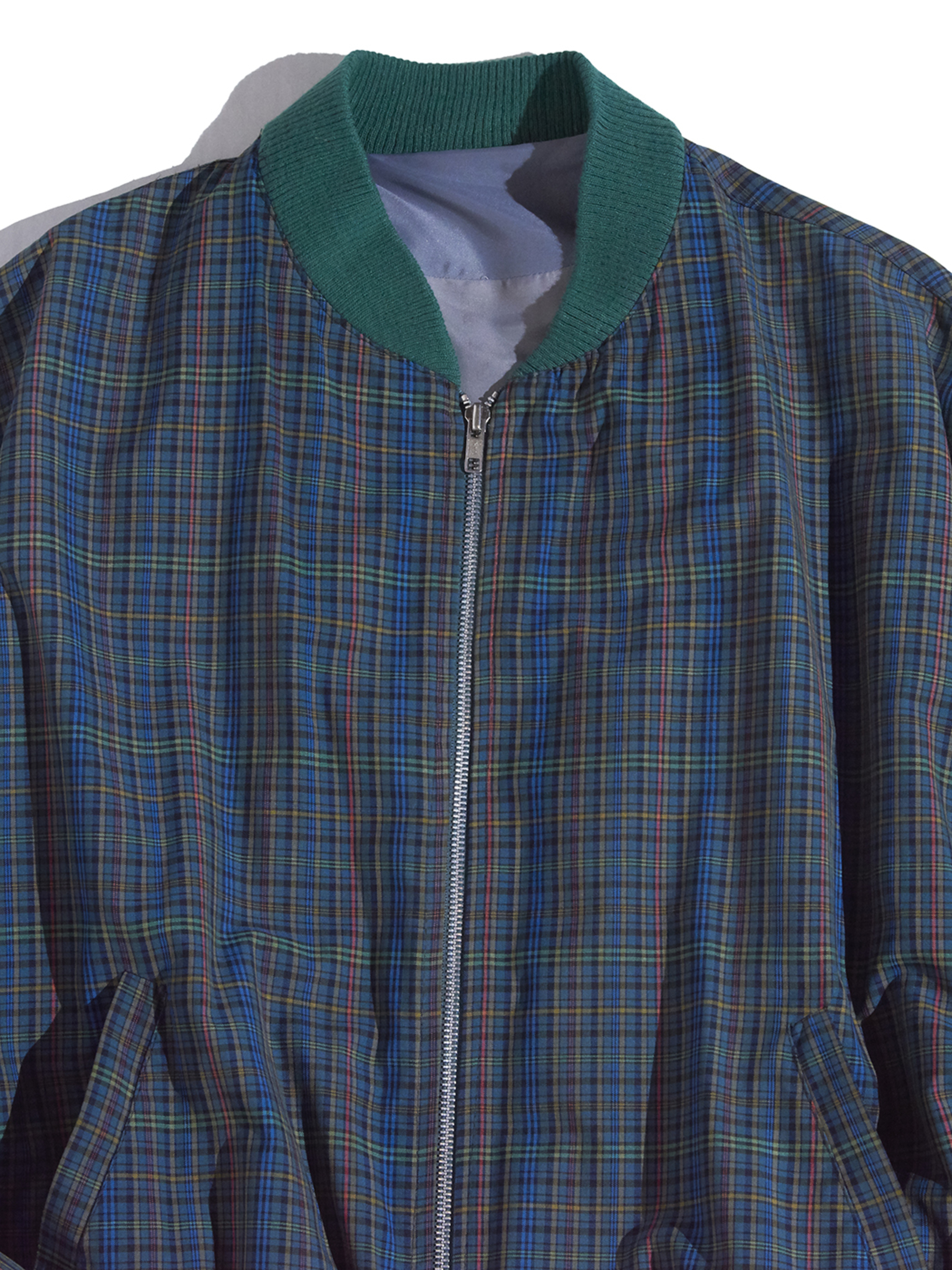 "1980s ""unknown"" check zip up blouson -GREEN-"