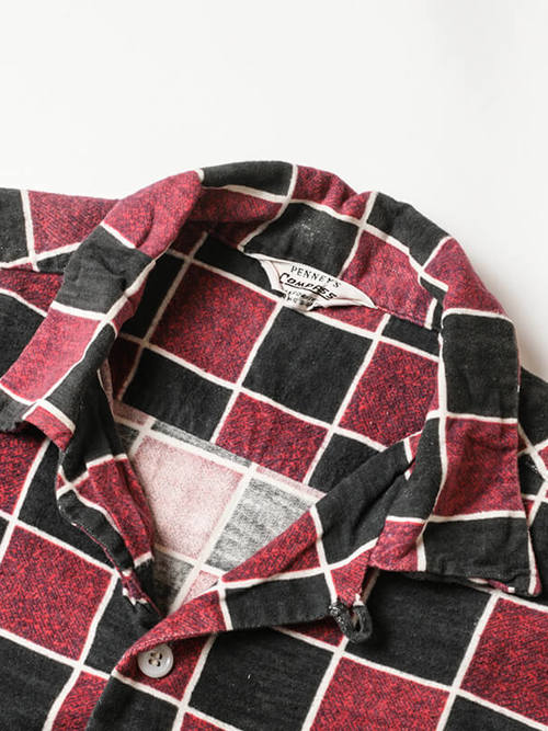 Penny's / 1960'sVintage / Open Collar Print Flannel Shirt