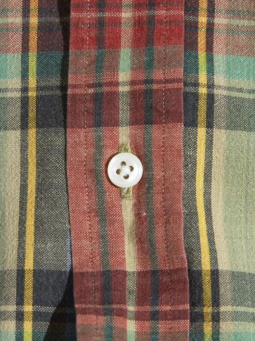 """1990s """"Ralph Lauren""""  s/s B.D. madras check shirt -KHAKI-"""
