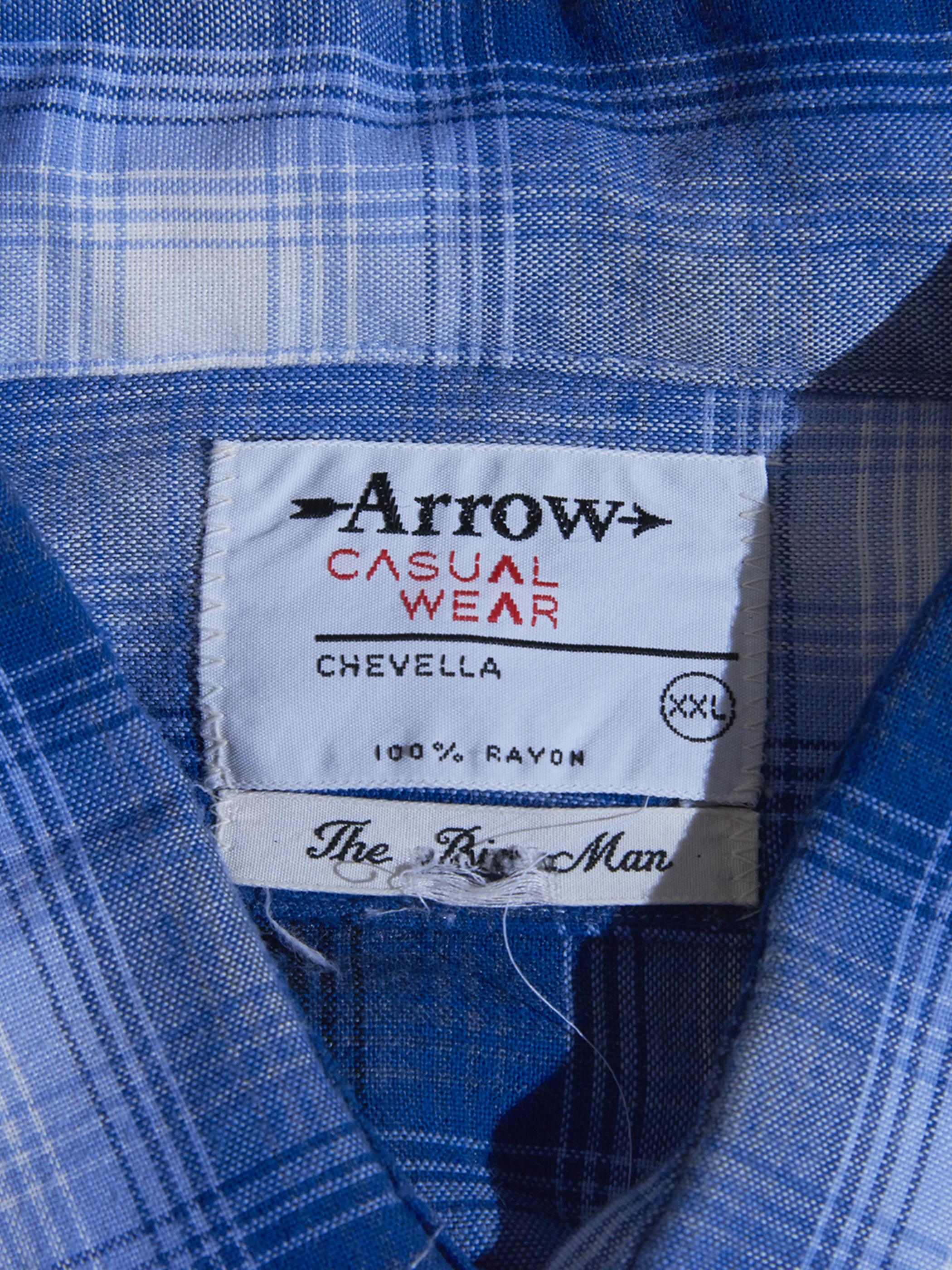"1960s ""ARROW"" rayon ombre check shirt -BLUE-"