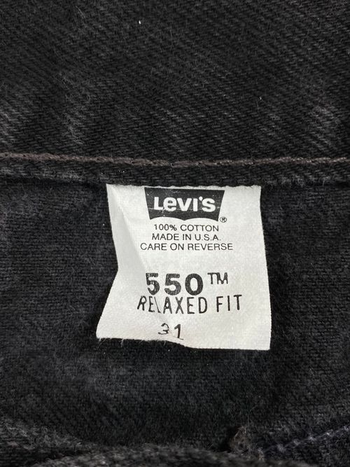 "90's Levi's 550 black denim short pants ""made in USA"""