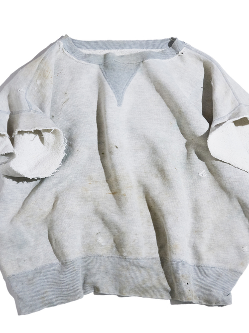 "1950s ""unknown"" front V chopped s/s sweat -OATMEAL-"
