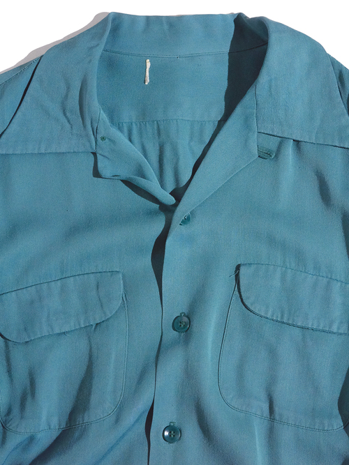 """1950s """"unknown"""" rayon shirt -GREEN-"""