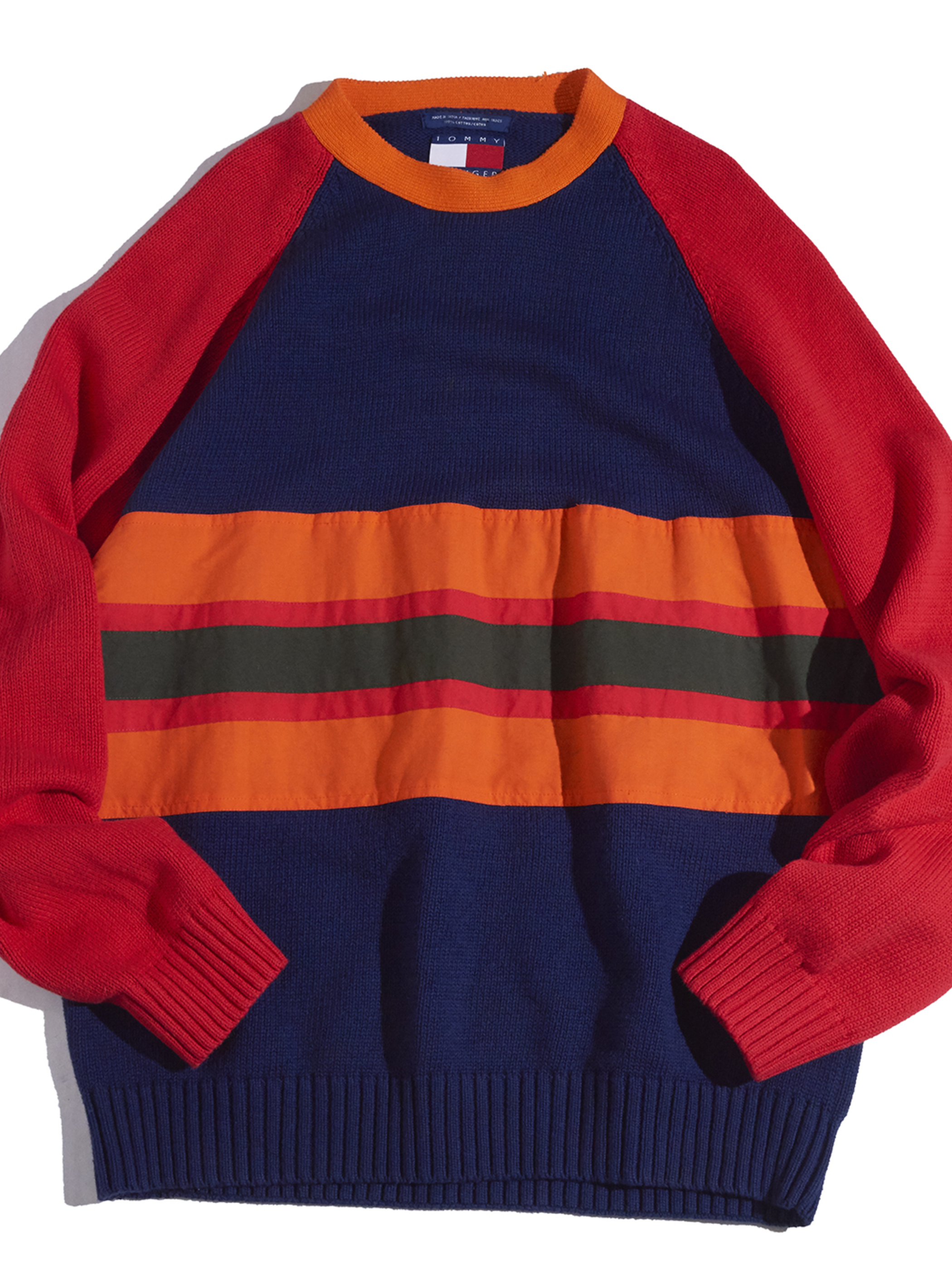 "1990s ""TOMMY HILFIGER"" cotton line knit -NAVY-"