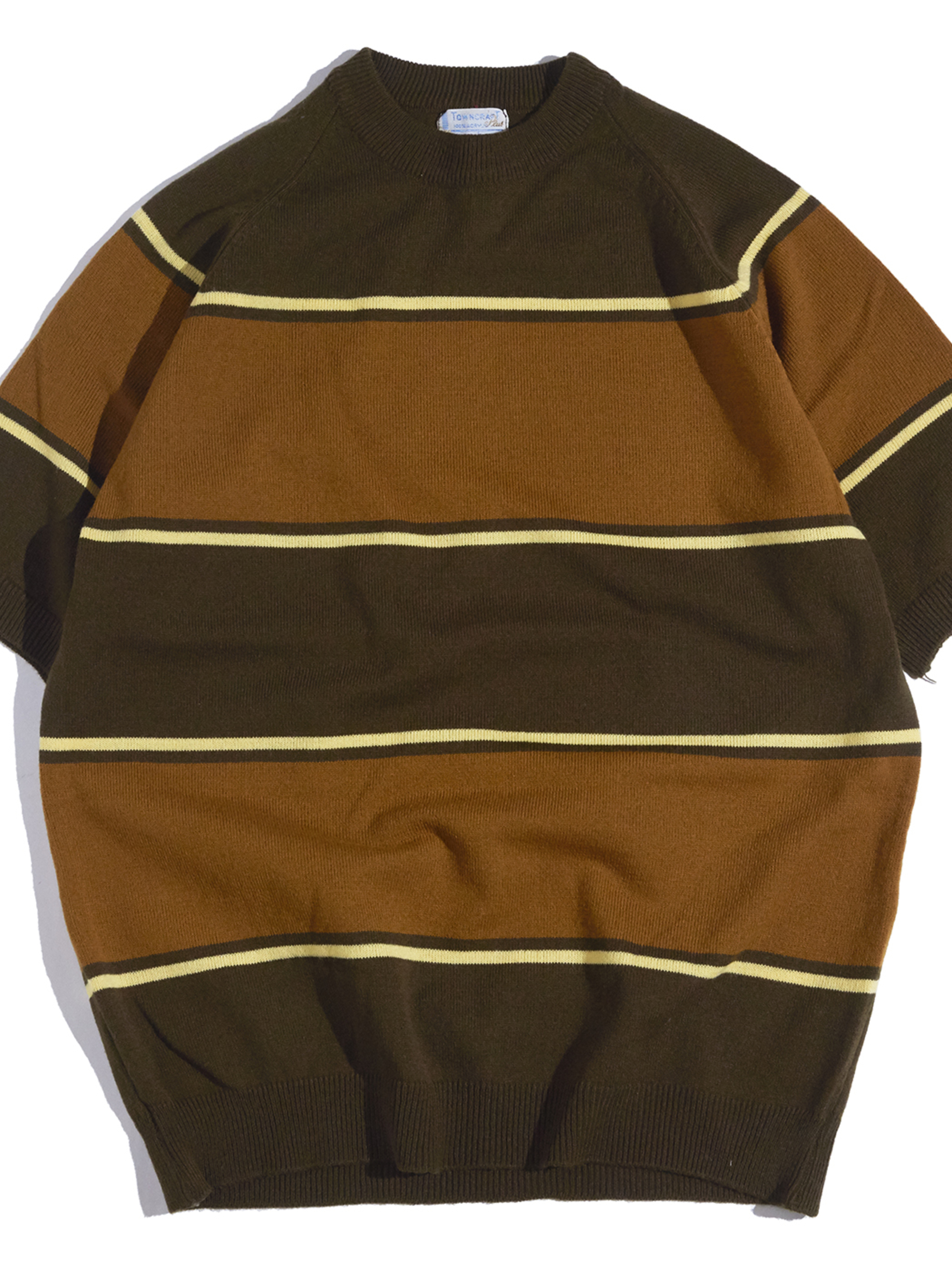 "1970s ""TOWN CRAFT"" s/s acrylic border knit -BROWN-"