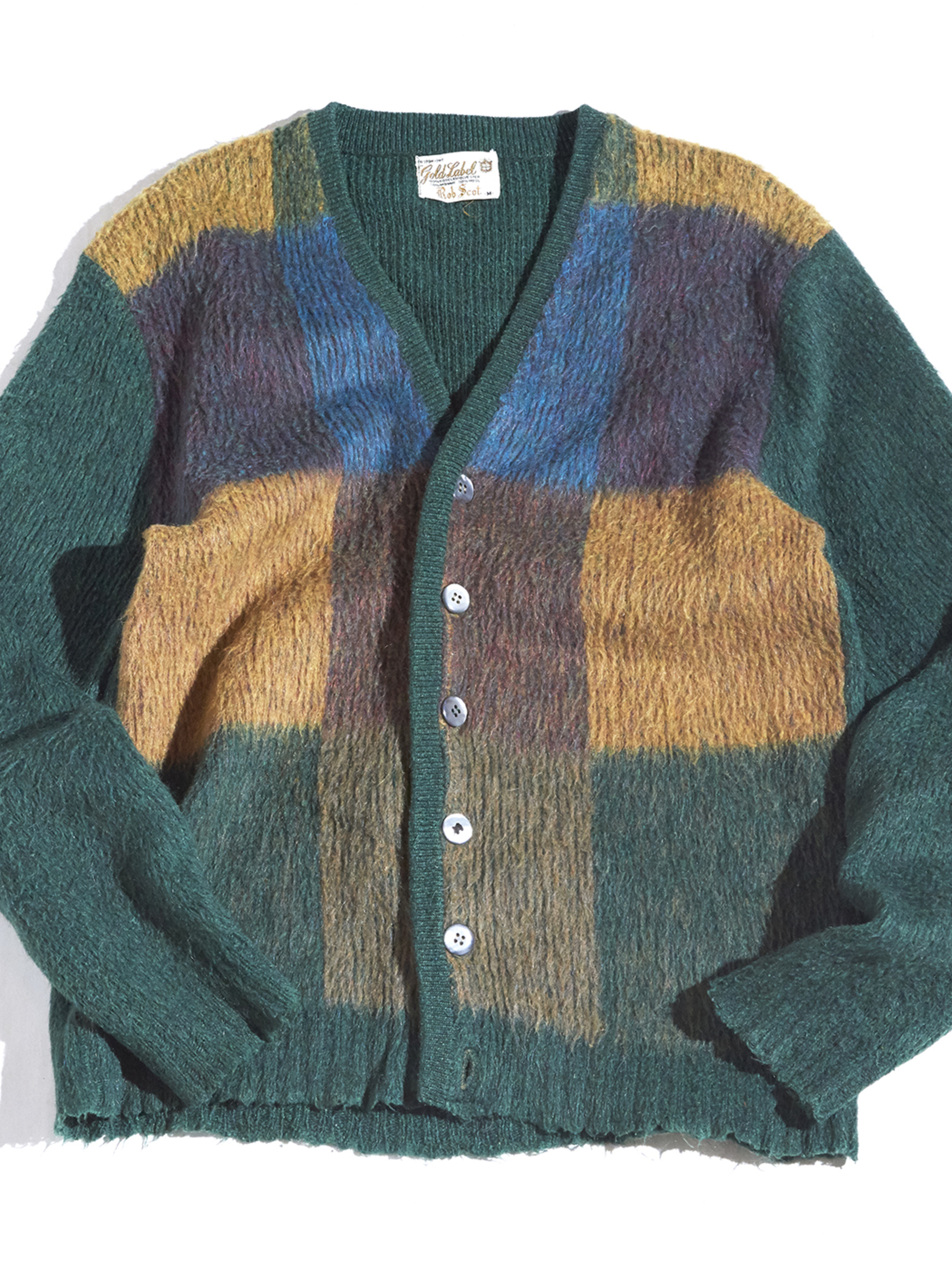"""1970s """"Rob Scot"""" mohair knit cardigan -GREEN PANEL-"""