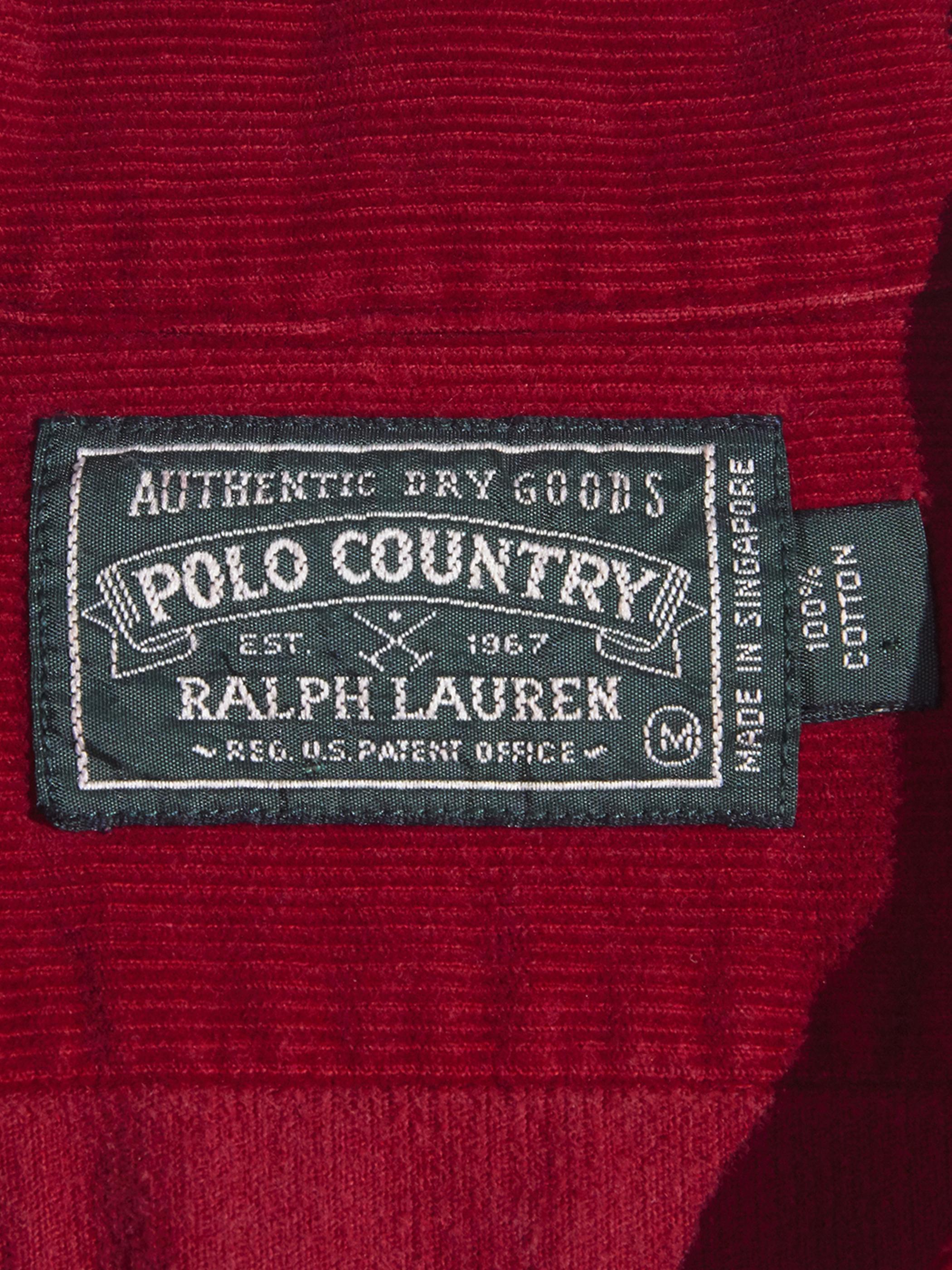 """1990s """"POLO COUNTRY"""" corduroy open collar shirt -BURGUNDY-"""