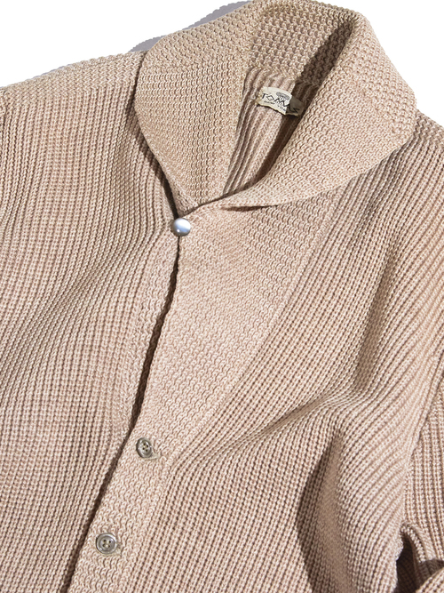 "1960s ""TOMAS"" shawl collar knit -BEIGE-"