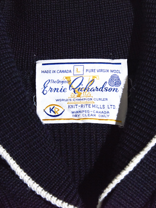 "1960s ""Ennie Qickandson"" shawl collar wool knit -BLACK-"