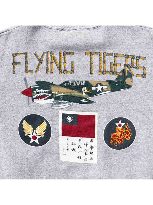 "80's~ USAAF ""FLYING TIGERS"" ブラッドチットプリント USA製 スウェット [L]"