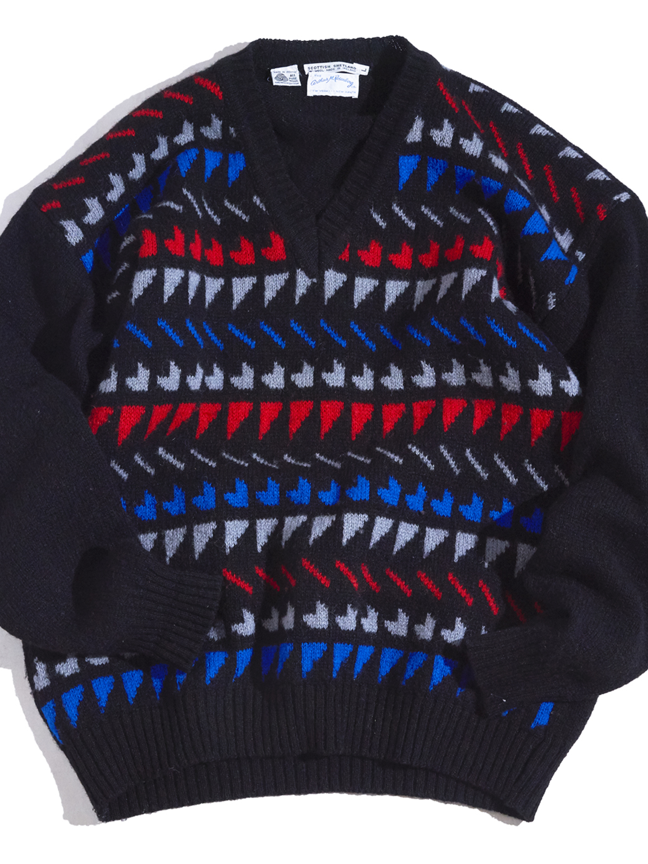 "1960-70s ""Arthur.M.Rosenburg"" atmic pattern shetland wool knit -BLACK-"