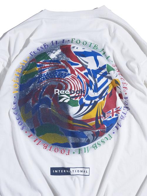 """1990s """"Reebok"""" print tee -WHITE-"""