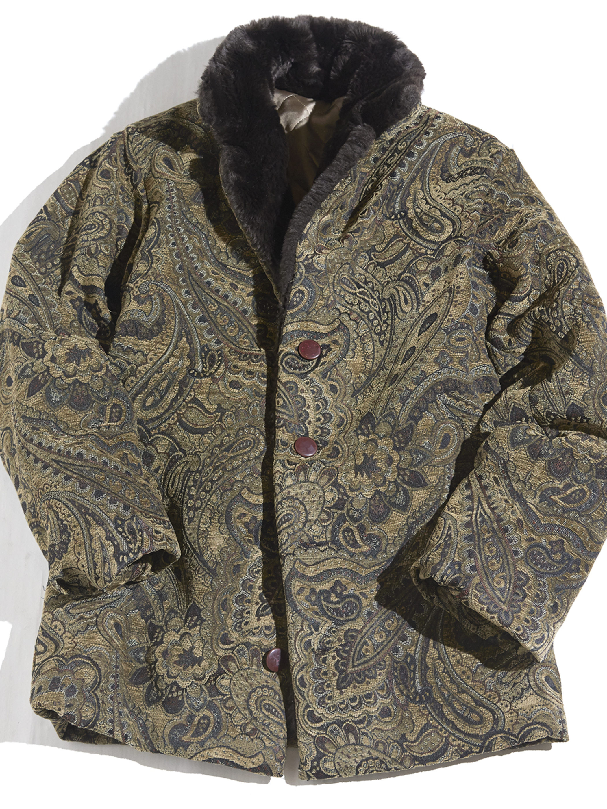 1960s gobelin woven shawl collar jacket -OLIVE-