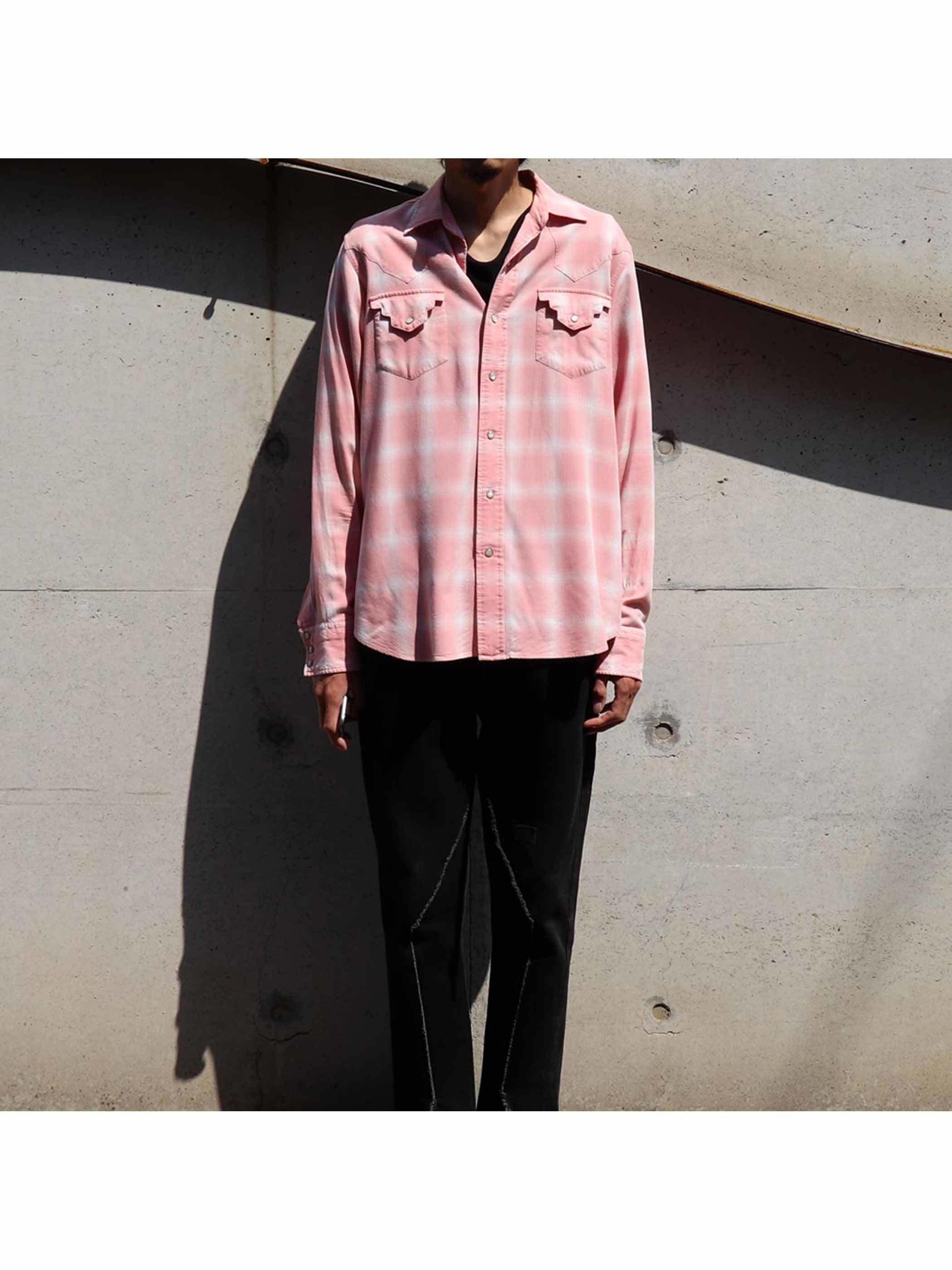 00's POLO RALPH LAUREN Pink×White Woven Shadow Plaid Western Shirt [M]