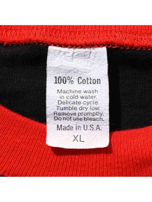 90's UNKNOWN USA製 ブラック×レッド 2トーン Tシャツ [XL]