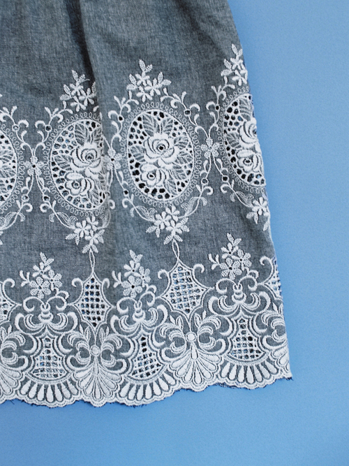 GRAY CHAMBRAY with LACE dress