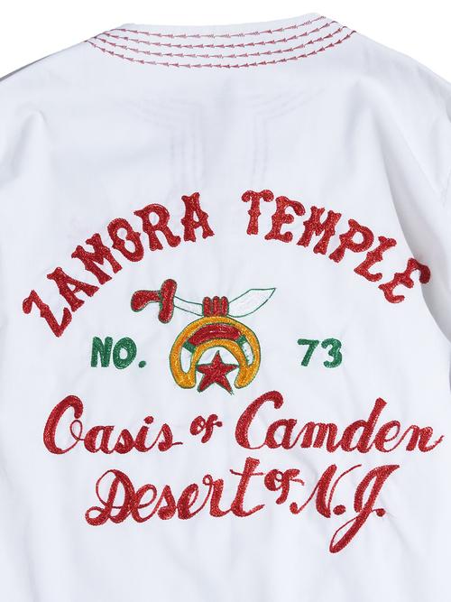 """1970s """"ZAMORA TEMPLE"""" s/s skipper embroidery shirt -WHITE-"""