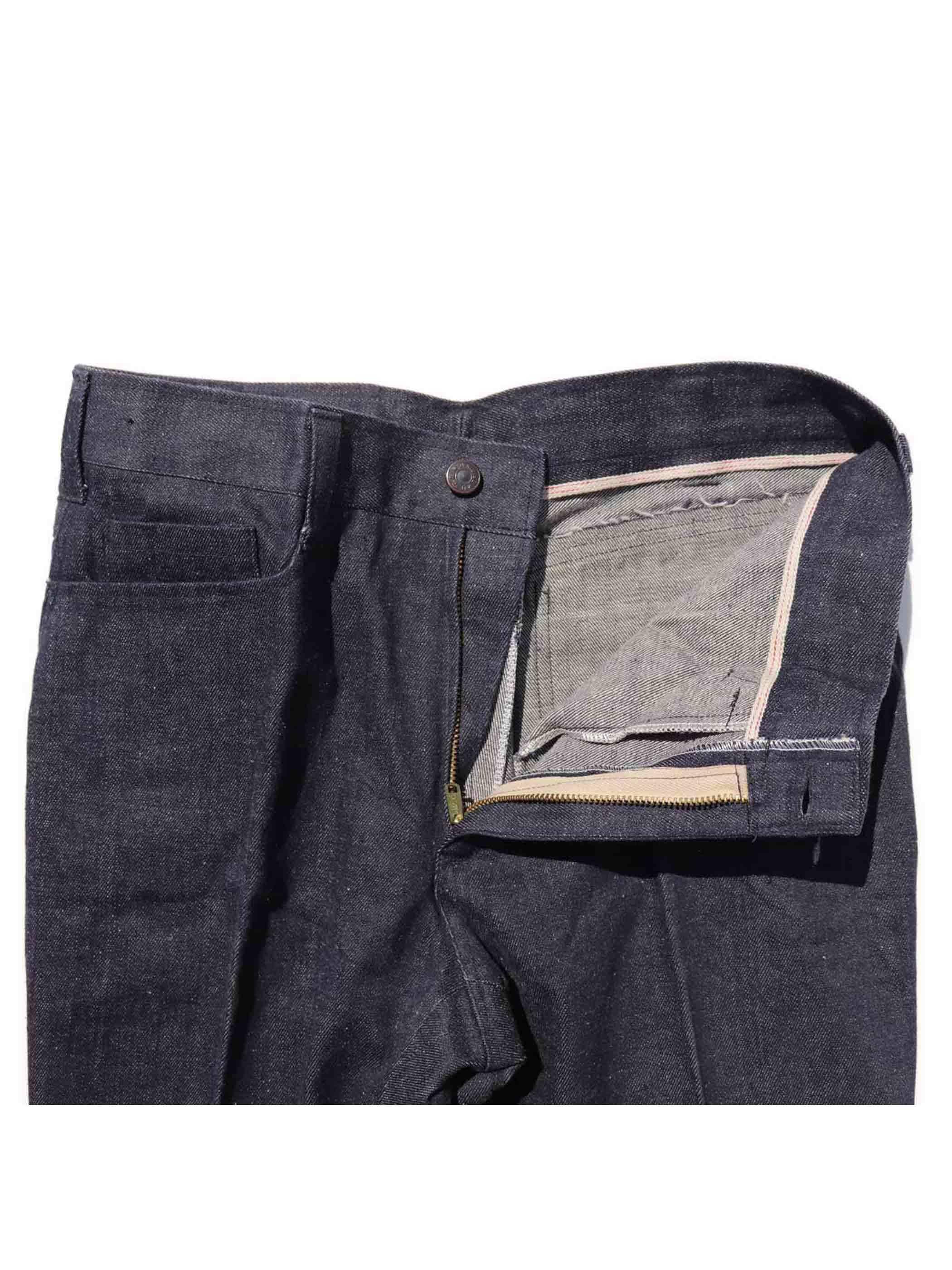 70's~ UNKNOWN ZIGZAG MAN 刺繍 ベルボトムジーンズ [W31]