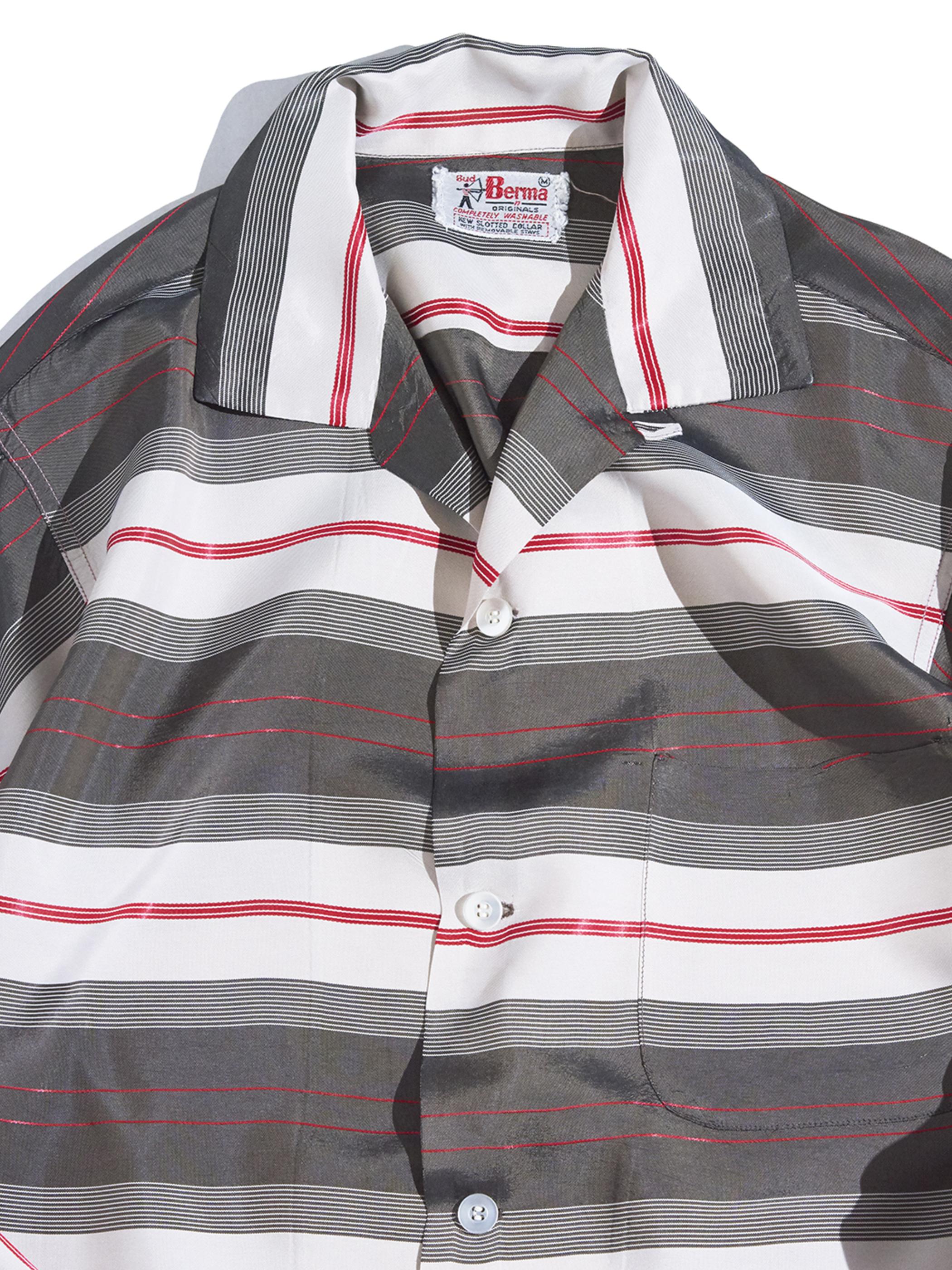 "1960s ""Bud Berma"" summer rayon multi border shirt -GREY-"