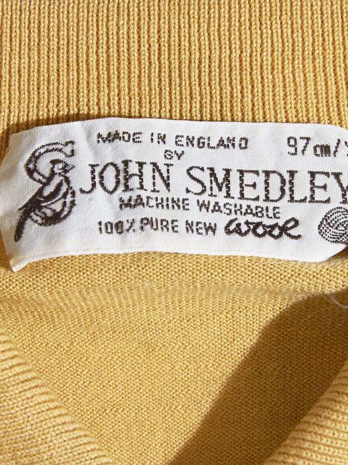 "1980s ""JOHN SMEDLEY"" wool knit polo -MUSTARD-"