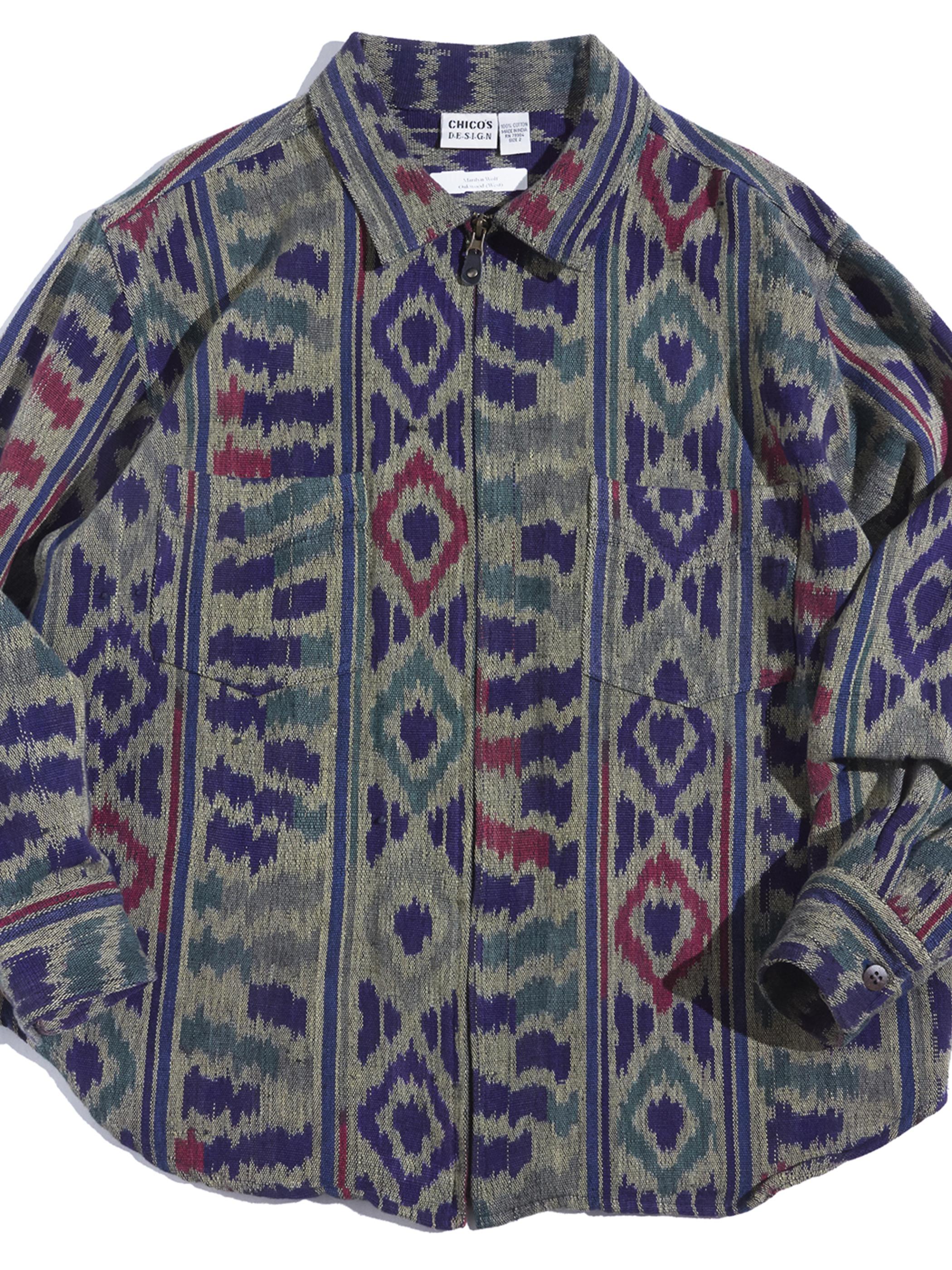 "1990s ""CHICO'S DESIGN"" native pattern zip up shirt -NATIVE-"