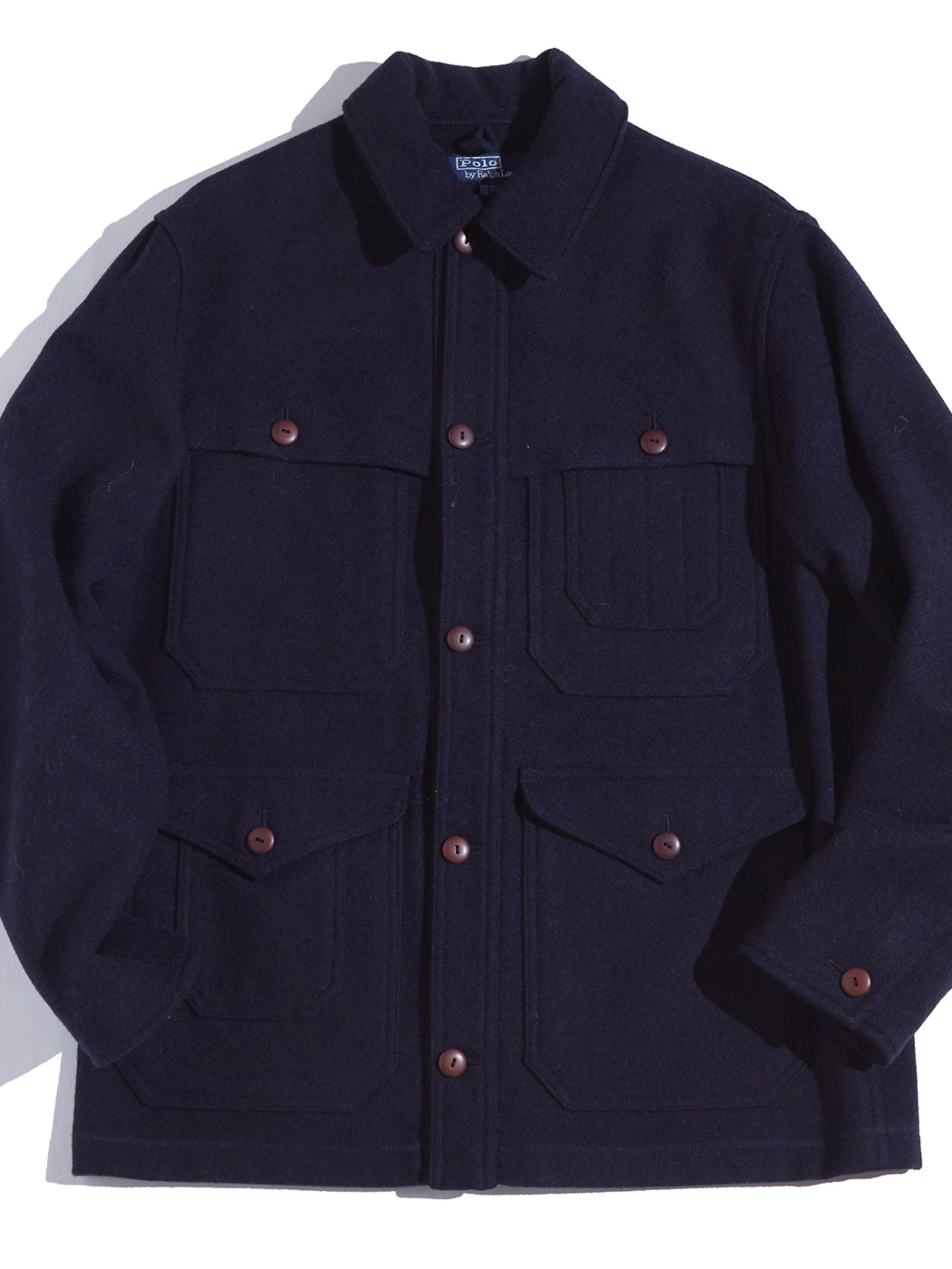 "1990s ""POLO by Ralph Lauren"" wool cruiser jacket -NAVY-"