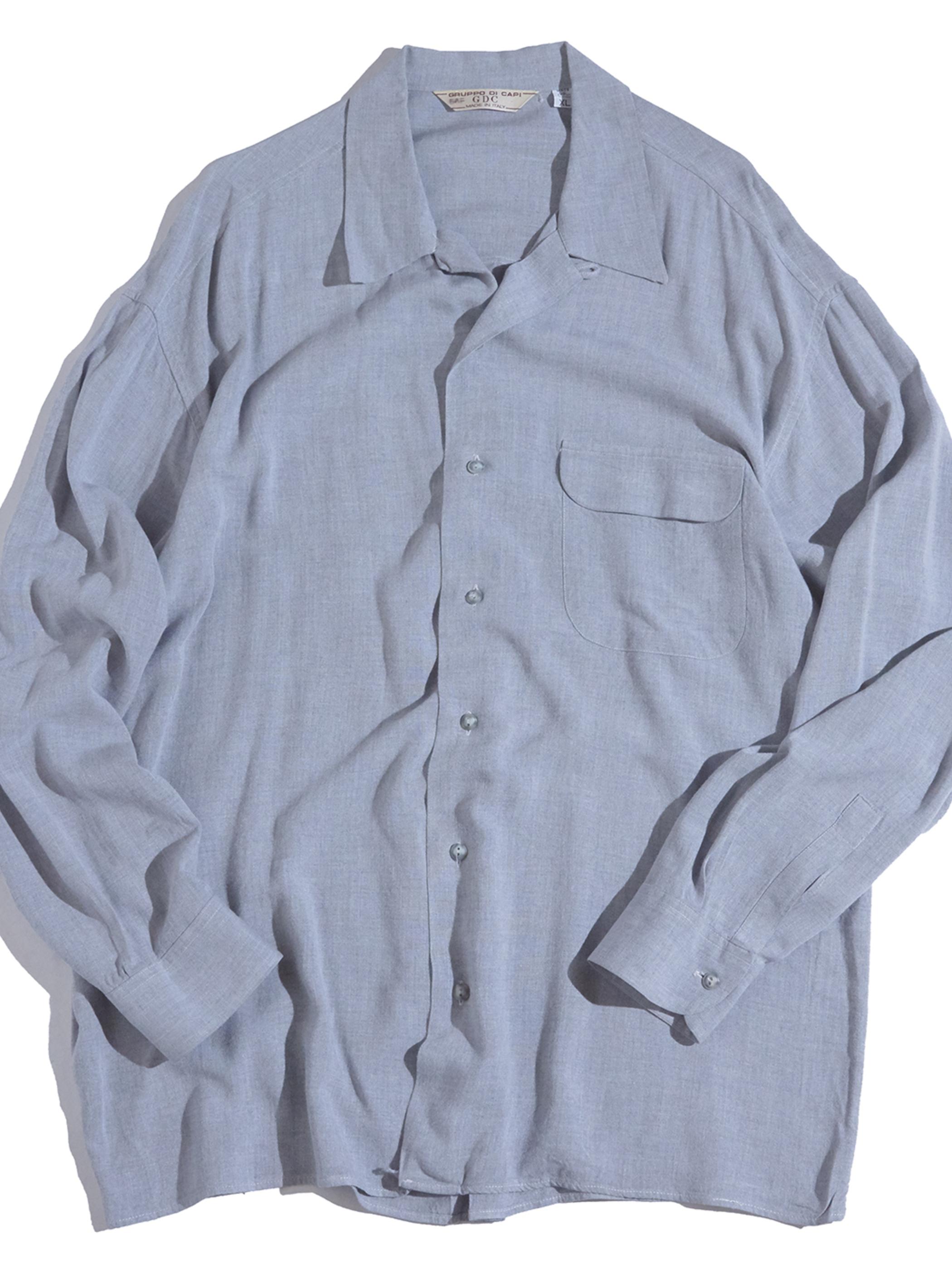 "1970s ""GRUPPO DI CAPI"" rayon shirt -LIGHT GRAY-"