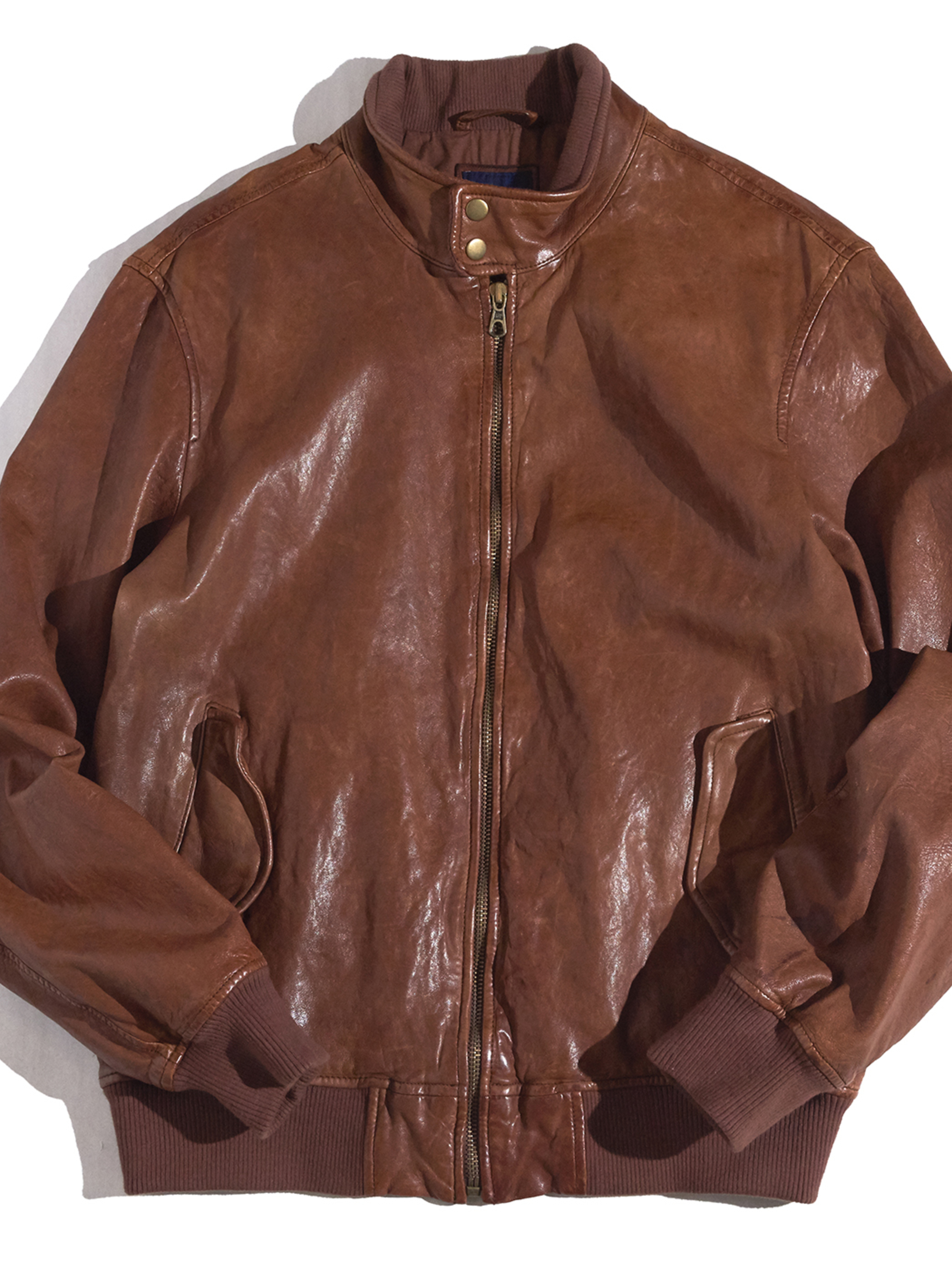 "2008y ""GAP"" G-9 style leather blouosn -BROWN-"