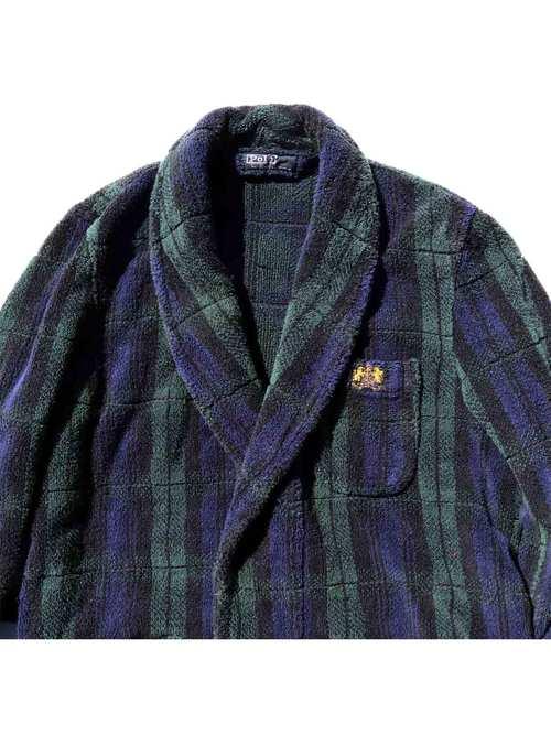 90's RALPH LAUREN ヘビーパイル ブラックウォッチ ガウンコート [S]