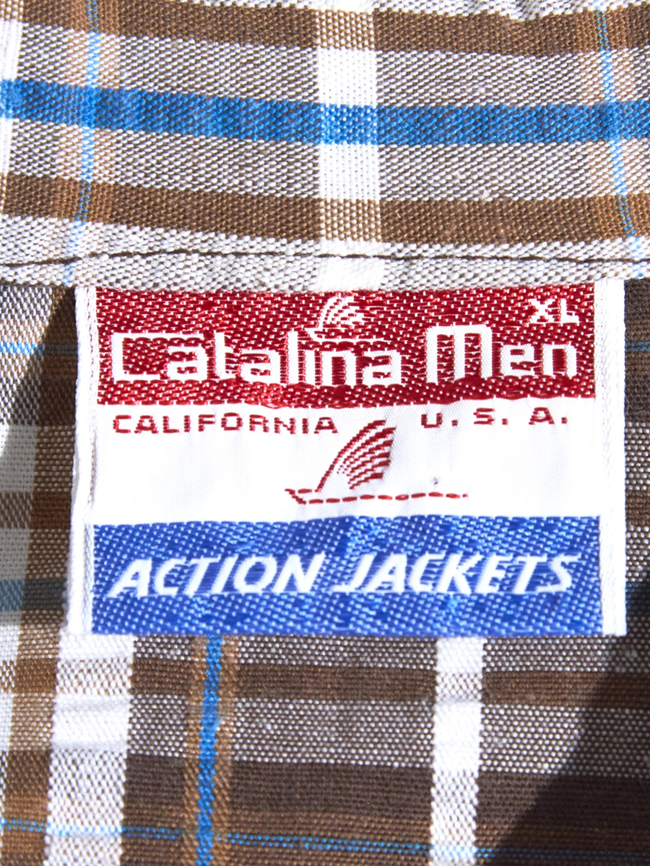 """1970s """"Catalina Men"""" seersucker check jacket -BROWN-"""