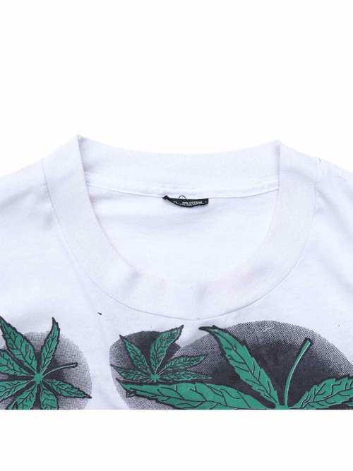 90's UNKNOWN ブートZIGZAG マリファナ総柄 プリントTシャツ [XXXL]