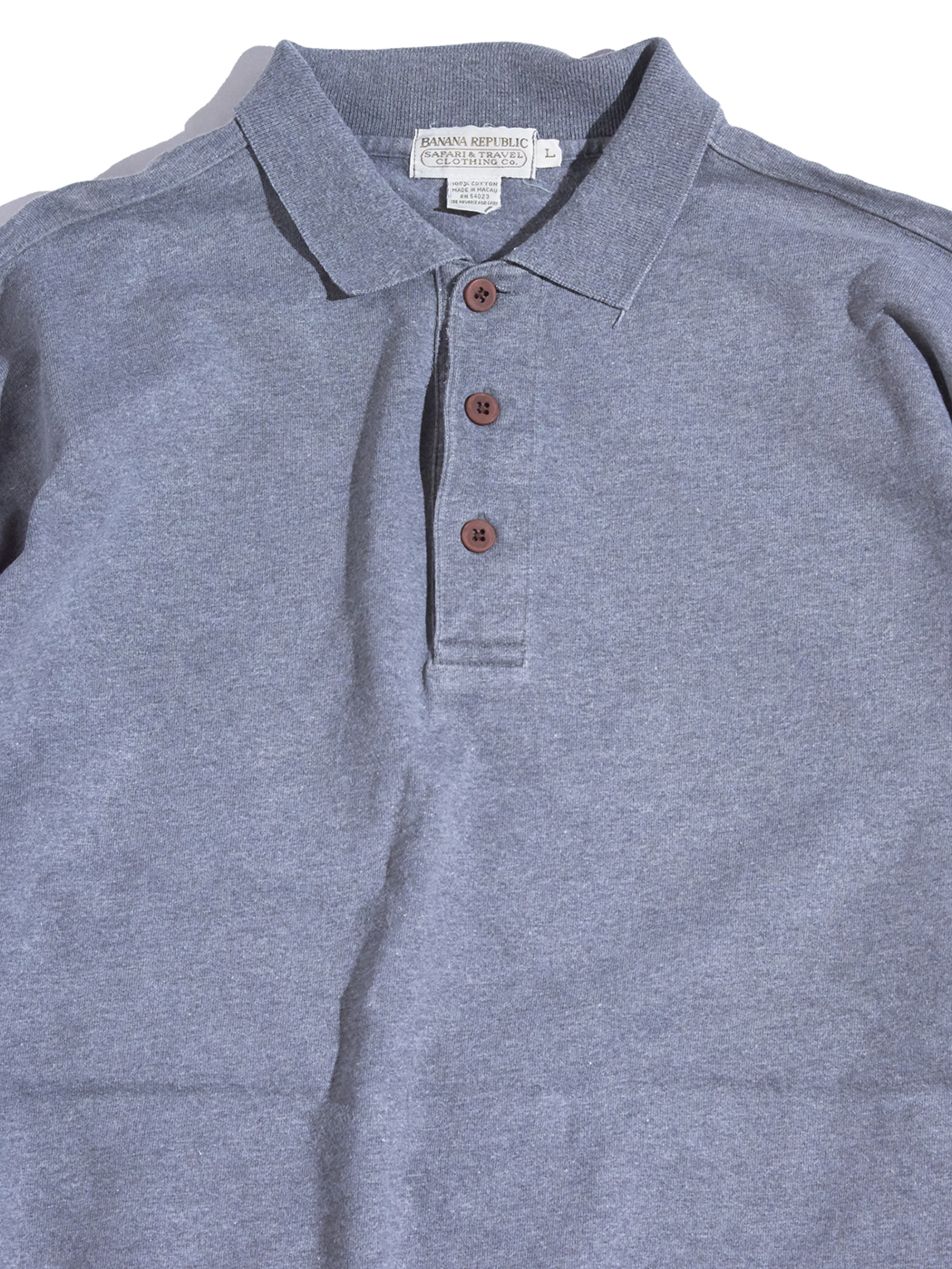 "1980s ""BANANA  REPUBLIC"" cotton polo shirt -GRAY-"