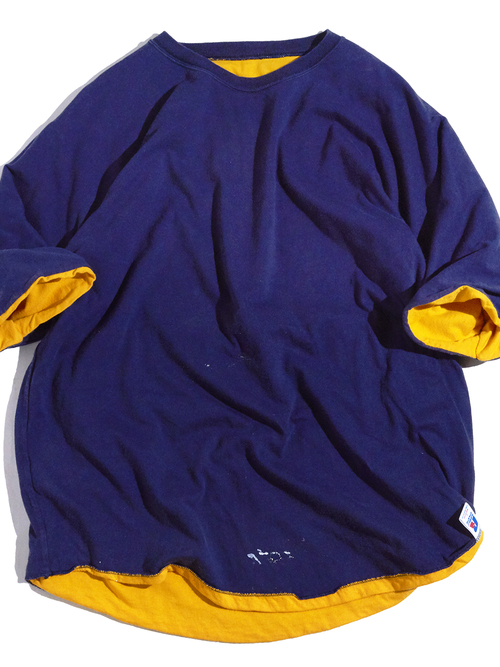 "1980s ""Russel"" double face football tee -YELLOW×NAVY-"