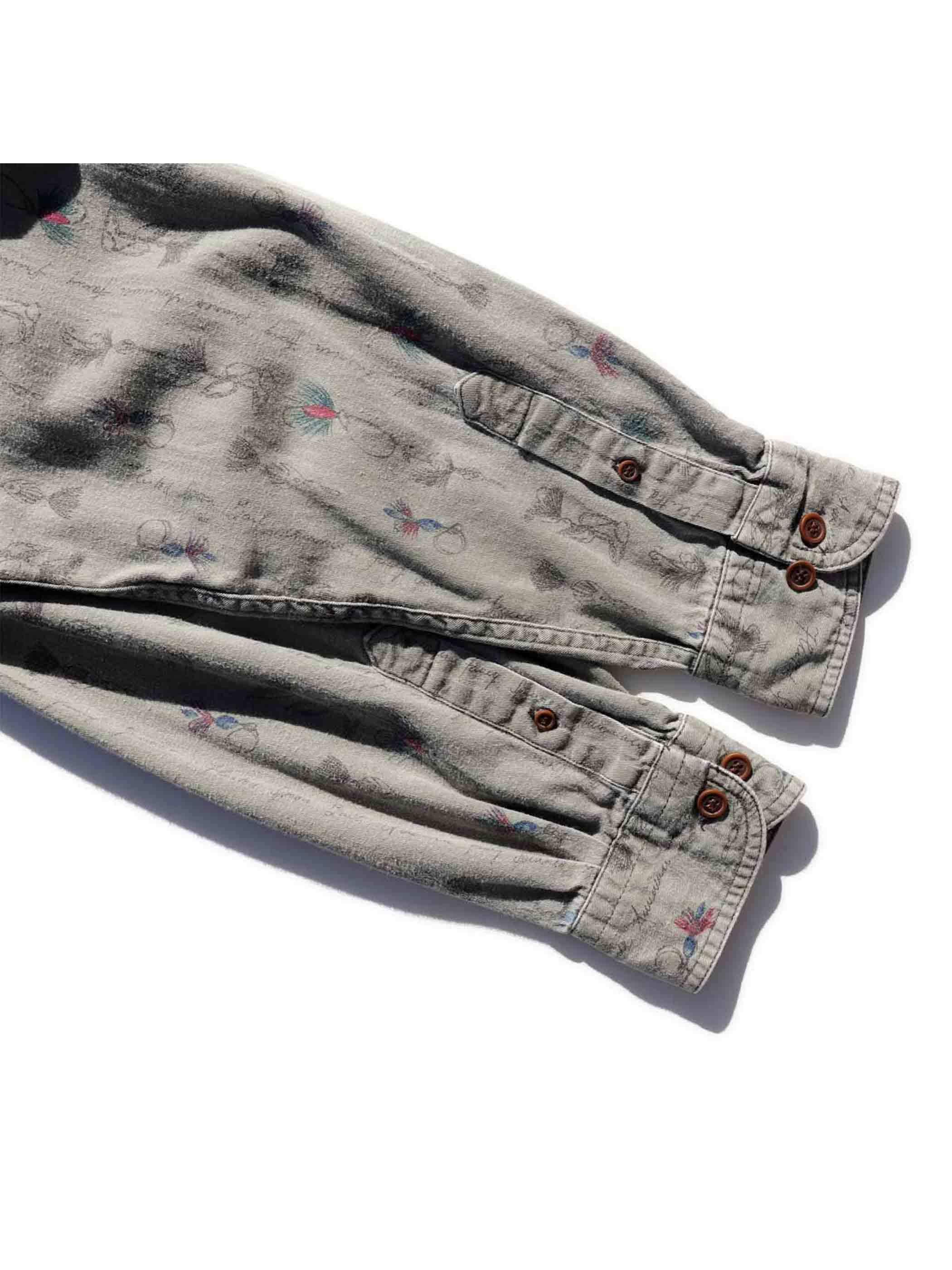 90's WOOLRICH 毛鉤柄 ボタンダウンシャツ [L]