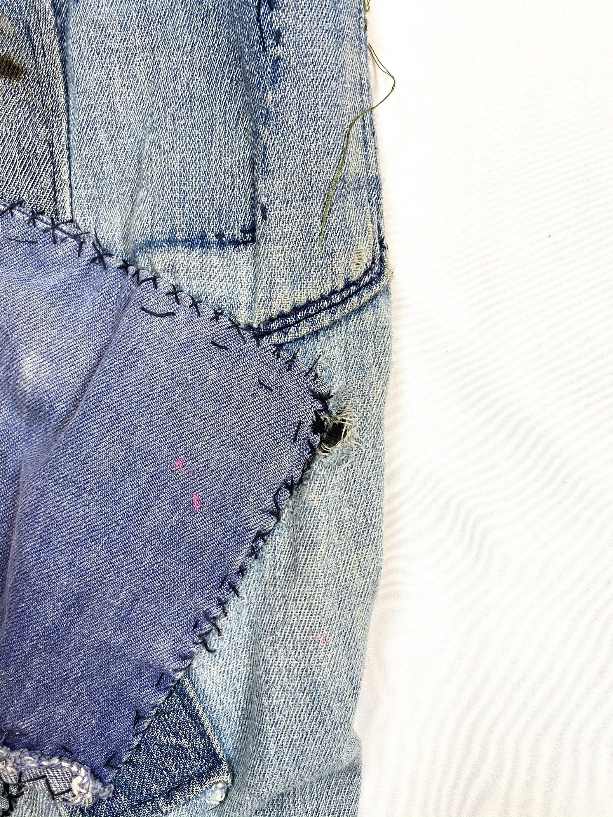 70's U.S.NAVY patchwork remake denim pants
