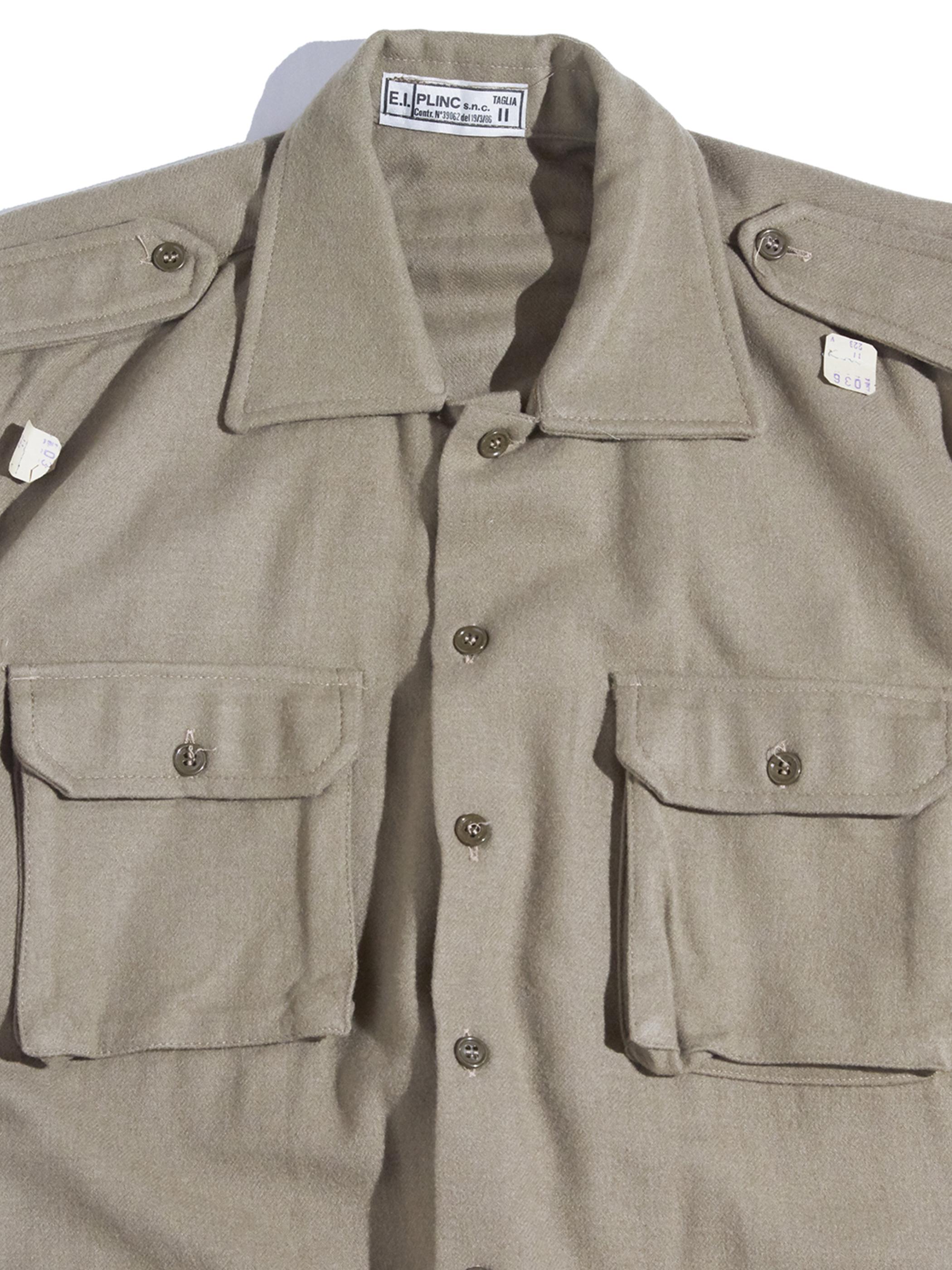 "NOS 1980s ""Italian Army"" wool officer shirt -KHAKI-"