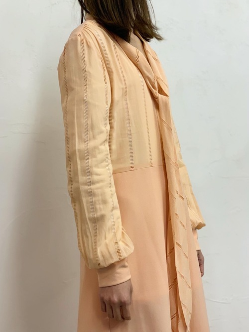 1970's〜1980's Tina Warren scarf collar one-piece made in England
