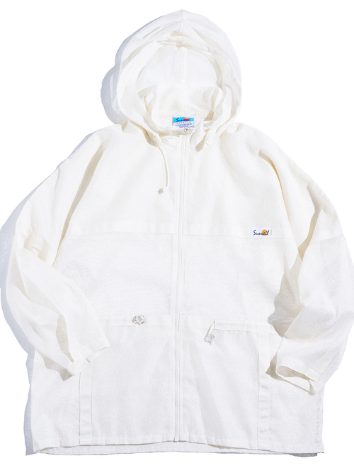 "1980s ""Sunveil"" zip up mesh parka -WHITE-"