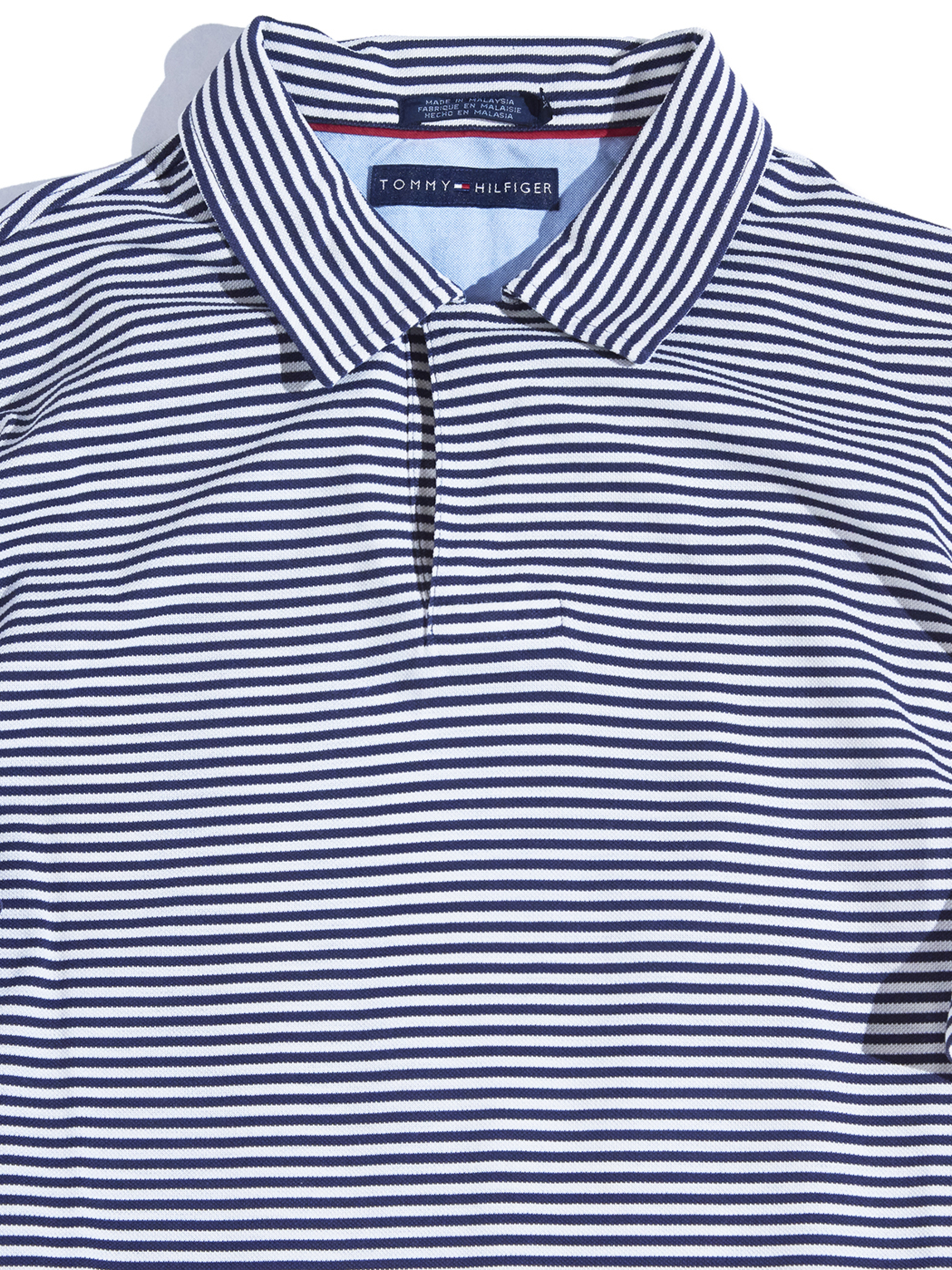 "2000s ""TOMMY HILFIGER"" border polo shirt -NAVY-"