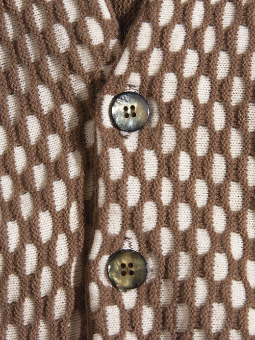 "1970s ""CAMPUS"" acrylic pattern knit cardigan -BROWN-"