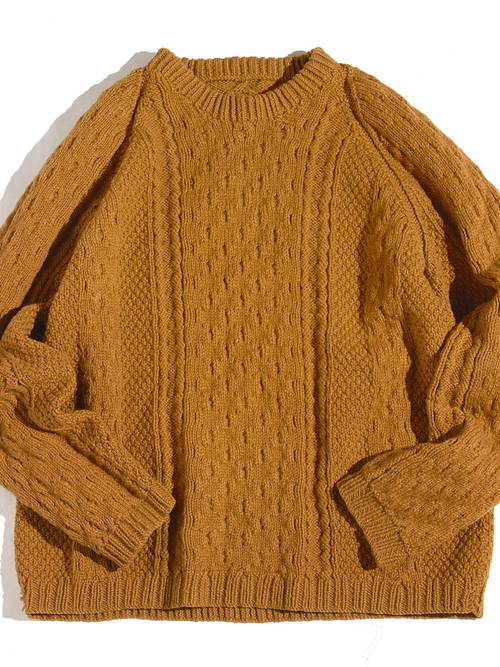 "1960s ""unknown"" fishermans? wool knit sweater -TAN-"