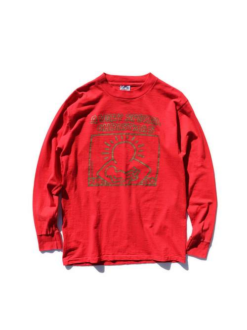 """80's """"A VERY SPECIAL CHRISTMAS"""" キース・ヘリング ゴールドプリント プロモTシャツ [L]"""