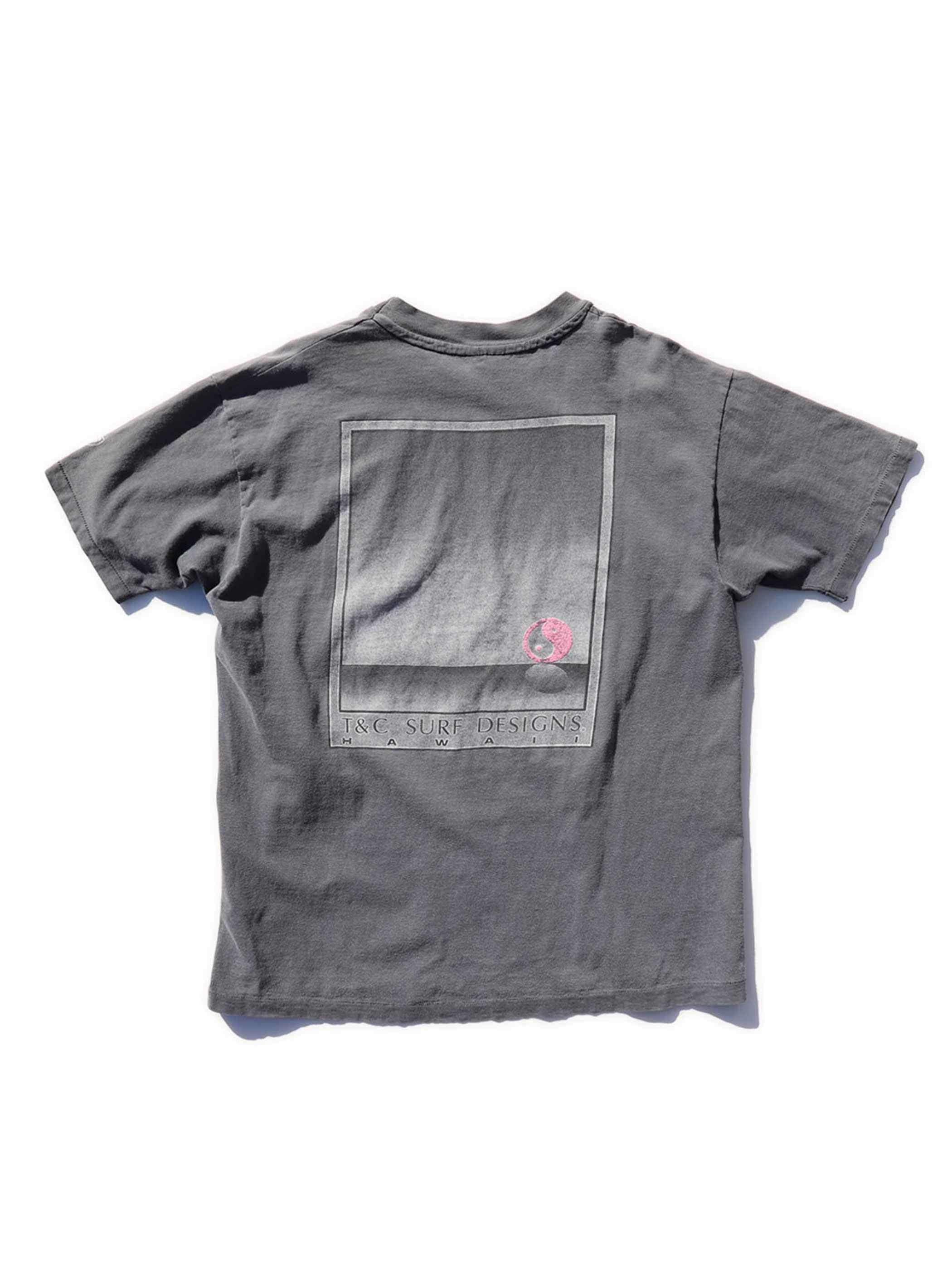 80-90's TOWN & COUNTRY SURF DESIGNS フェードグレー プリントTシャツ [XL]