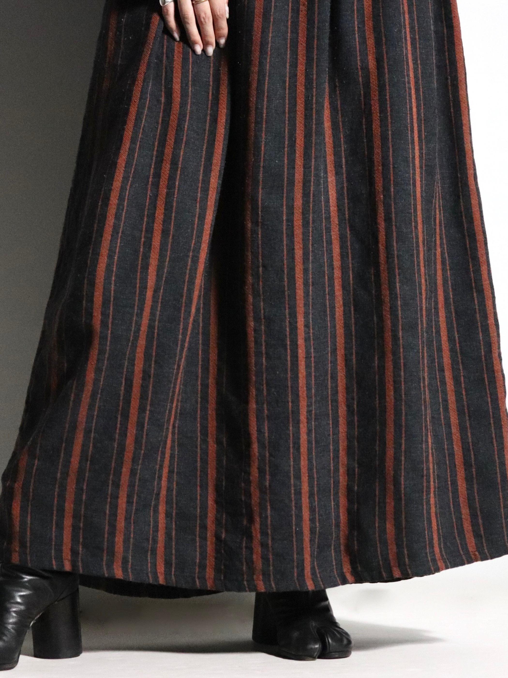 L/S stripe maxi one-piece
